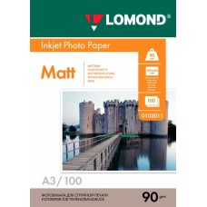 Фотобумага матовая односторонняя (Lomond) A3, 90г/м, 100л. (0102011)