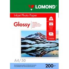 Фотобумага глянцевая односторонняя (Lomond) A4, 200г/м, 50л. (0102020)
